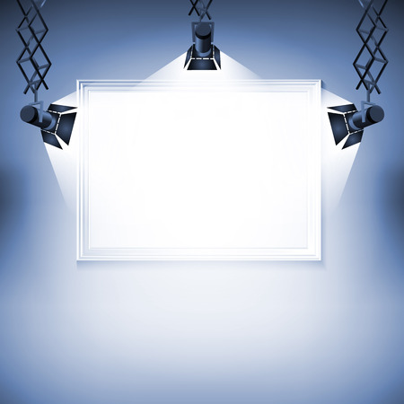 Wall with picture  Vector illustration spotlight light spot frame background art