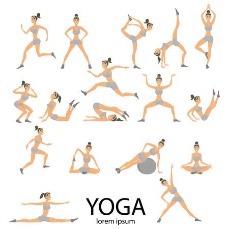 poses: Vector yoga illustration. Yoga set. Yoga exercises. Women yoga. Yoga class, yoga center, yoga studio. Yoga poster. Sketch with yoga asana. Girl does yoga exercises. Healthy lifestyle. Illustration