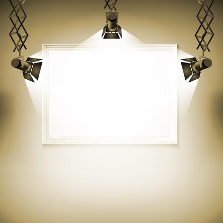 spotlight on wall: Wall with picture  Vector illustration spotlight light spot frame background art