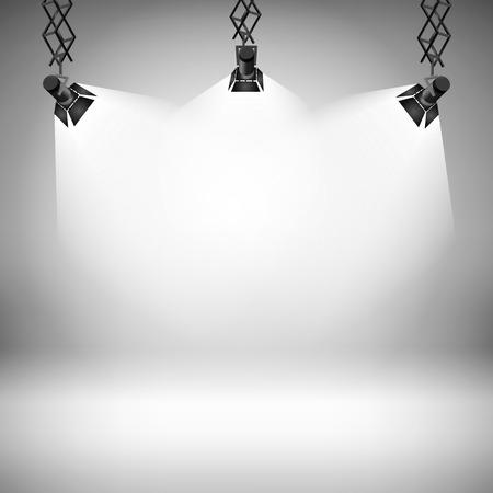 スポット ライト抽象クラブ劇場インテリア 3 d 現実的な背景ベクトル イラスト ギャラリー  イラスト・ベクター素材