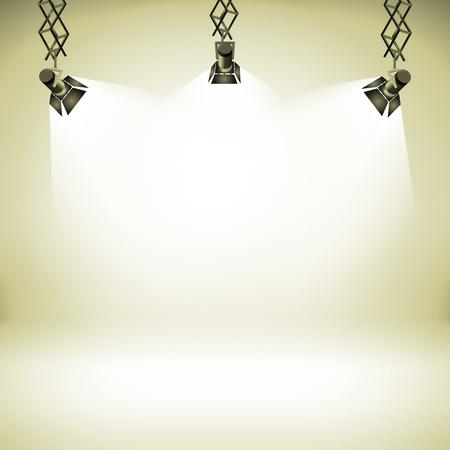 luz focal: Foco club de teatro abstracto galer�a interior 3d fondo realista ilustraci�n vectorial arte