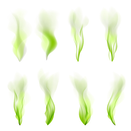 Set of green wave abstract background vector smoke line flow art