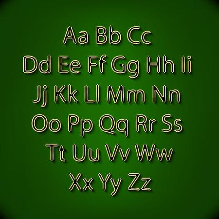 glamorous: Retro Lightbulb Alphabet Glamorous showtime theatre alphabet. Vector illustration. art