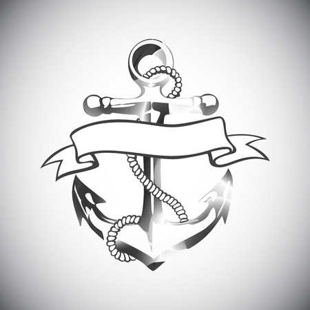 ancre marine: Anchor icône vecteur de tatouage de conception de logo grunge art floral main Illustration