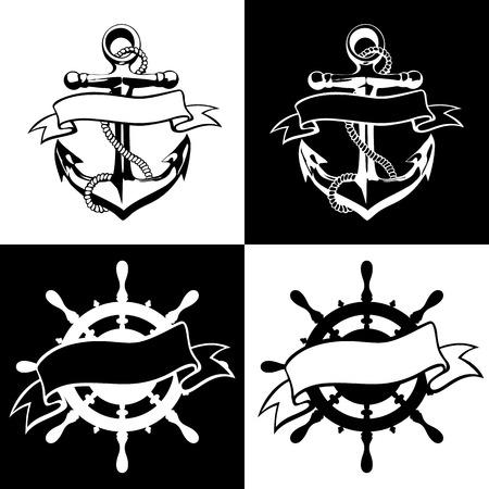 ancre marine: Anchor ic�ne vecteur de tatouage de conception de logo grunge art floral main Illustration