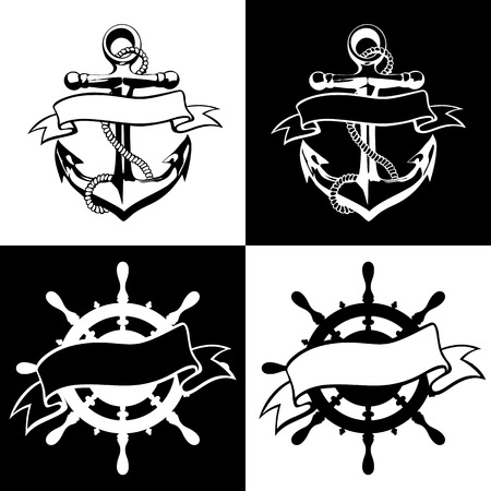 ancla: Grunge diseño del ancla del icono del vector del tatuaje logotipo del arte de la mano de flores