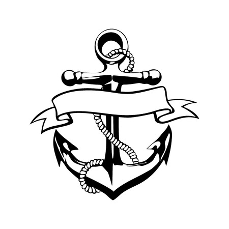 Anchor icon vector tattoo logo grunge design floral hand  art Иллюстрация