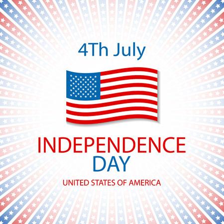 independencia: Tarjeta feliz del día de la independencia de Estados Unidos de América, 4 de julio, con las fuentes Vectores