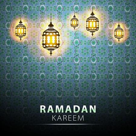 eid mubarak: traditional lantern of Ramadan- Ramadan Kareem beautiful greeting card with arabic calligraphy which means Ramadan kareem Illustration