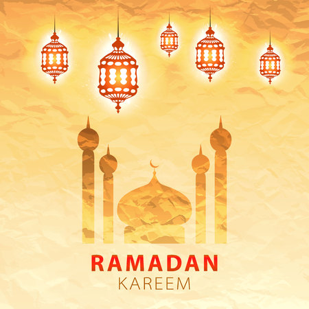 mubarak: traditional lantern of Ramadan- Ramadan Kareem beautiful greeting card with arabic calligraphy which means Ramadan kareem Illustration