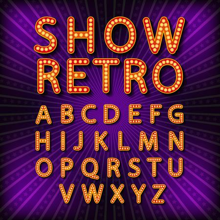 Vector set Retro neon sign, vintage billboard, bright signboard, light banner art