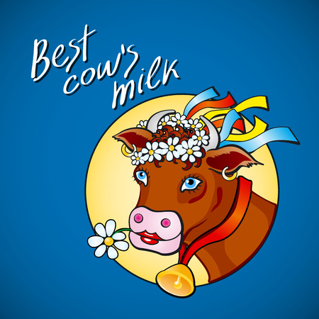Funny cow carry wooden pail with milk. Lawn, flowers and sky. Vector illustration art