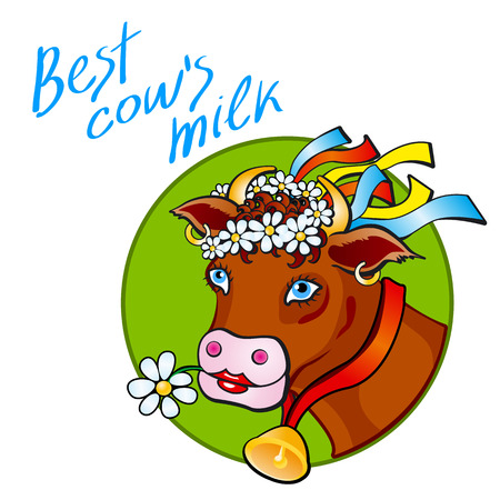 anthropomorphous: Funny cow carry wooden pail with milk. Lawn, flowers and sky. Vector illustration art