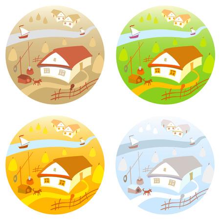 four season: Rural landscape with vineyard and mountain panoram. Four season. art