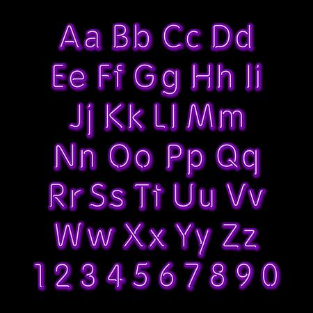 neon glow alphabet: Neon glow alphabet. Vector design party retro 3d art neon font,