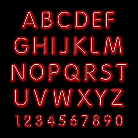Neon glow alphabet. Vector design party retro 3d art neon font,