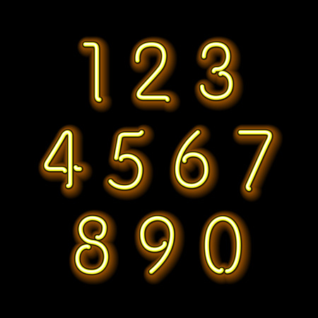 numerical: Numerical figures in sparkling neon colors art