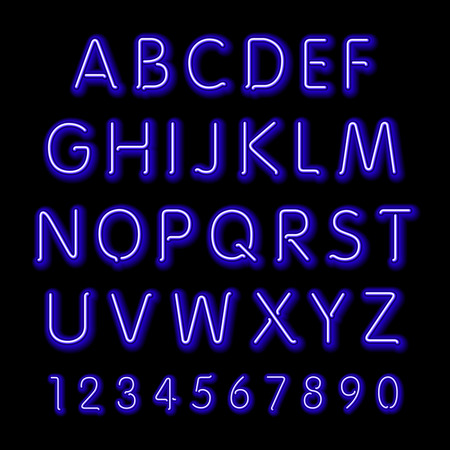 neon light: Neon glow alphabet. Vector design party retro 3d art neon font,
