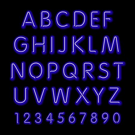 neon letter: Neon glow alphabet. Vector design party retro 3d art neon font,