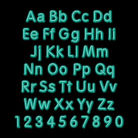 3d art: Neon glow alphabet. Vector design party retro 3d art neon font,