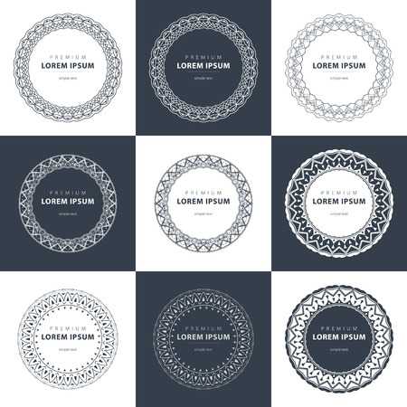 set of outline emblems and badges - abstract hipster templates art
