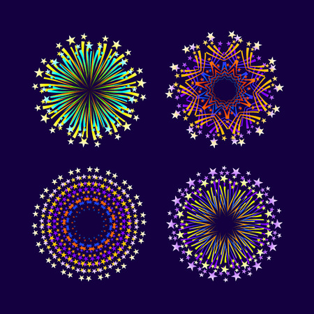 event party: Party and holiday event firework icon flat set isolated illustration