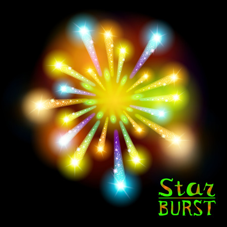 love blast: Festive patterned firework  bursting  in various shapes sparkling pictograms set  against black background abstract vector isolated illustration art Illustration