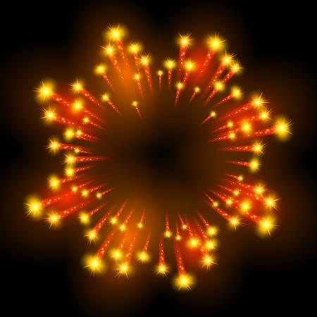 burst background: Festive patterned firework  bursting  in various shapes sparkling pictograms set  against black background abstract vector isolated illustration art Illustration