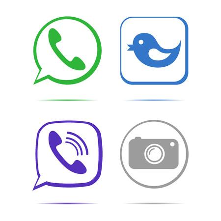 phone handset: Green phone handset in speech bubble vector icon art