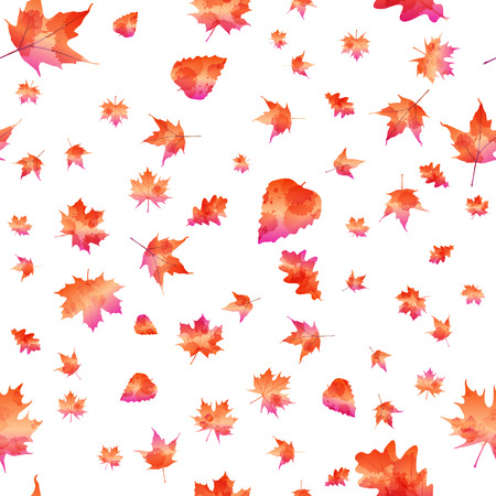 Seamless pattern with colorful autumn leaves. Vector illustration. Illustration