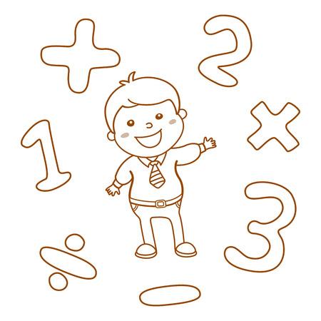rekensommen: Cartoon stijl wiskunde leren spel illustratie. Wiskundige logische operator symbolen icon set. Sjabloon voor school leraar educatieve gebruik. Leuke jongen student karakter. Berekening les. kunst