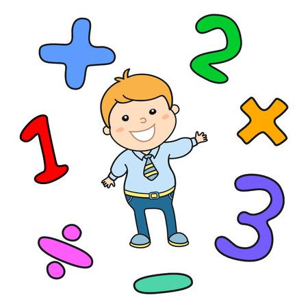 alumnos en clase: Estilo de dibujos animados ilustración juego de aprendizaje de matemáticas. Matemática aritmética operador lógico símbolos conjunto de iconos. Plantilla para el uso educativo maestro de escuela. Carácter lindo chico estudiante. Lección de Cálculo. arte