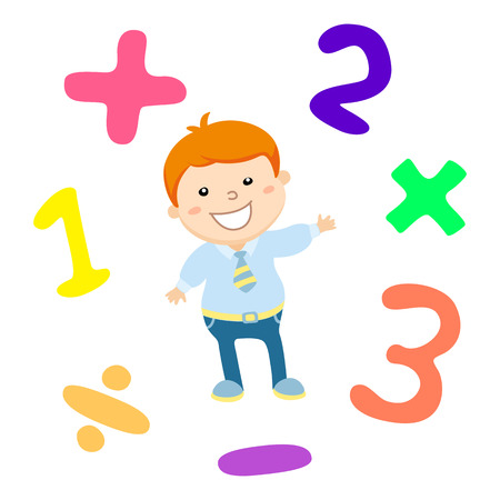 arithmetic: Cartoon style math learning game illustration. Mathematical arithmetic logic operator symbols icon set. Template for school teacher educational usage. Cute boy student character. Calculation lesson. art Illustration