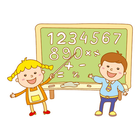 cartoon school girl: cute children with blackboard Illustration