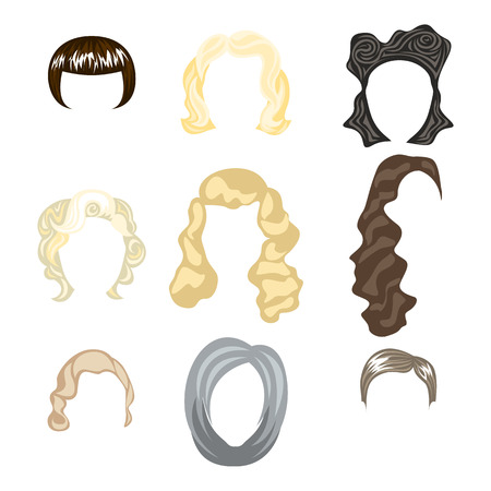 hair style: cute illustrations of beautiful young girls with various hair style art Illustration