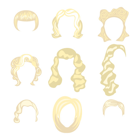 Set of  blond hair styling blonde hairstyles Illustration