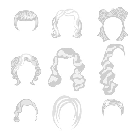 blond hair: Set of  blond hair styling blonde hairstyles Illustration