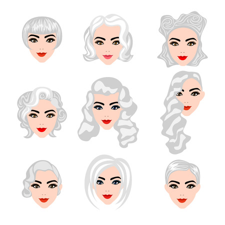 haircutter: Set of  blond hair styling blonde hairstyles Illustration