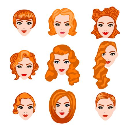 curly tail: set with different hairstyles. Redhead. hand-drawn illustration red women hairstyles Illustration
