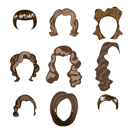 set of men hair styling: woman hair hairstyle silhouette brunette hairstyle