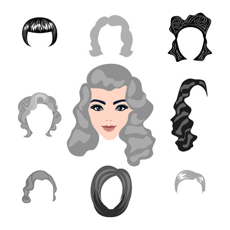 blond: Set of  blond hair styling blonde hairstyles Illustration