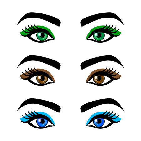 female eyes: Collection of female eyes and eyebrows of different shapes, different colors, with and without makeup art