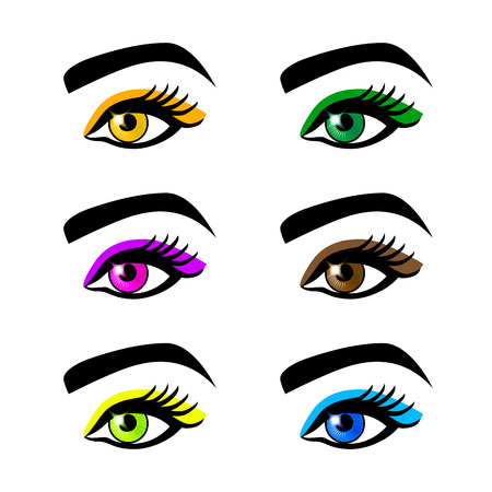 eyebrows: Collection of female eyes and eyebrows of different shapes, different colors, with and without makeup art