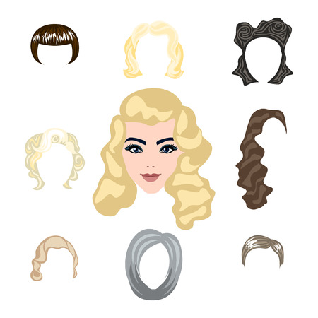 hair dresser: cute illustrations of beautiful young girls with various hair style art Illustration
