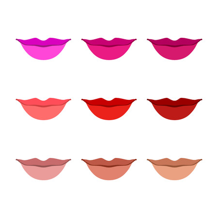 lust: Women lips icon set art