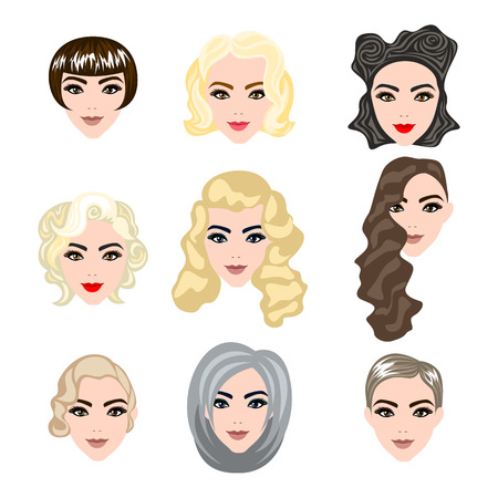 blonde curly hair: cute illustrations of beautiful young girls with various hair style art Illustration