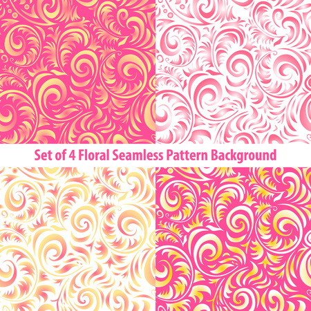 Seamless floral backgrounds  Set of vector patterns with pink