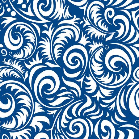 伝統的なロシア ベクトル gzhel スタイルでシームレスなパターン。バナー、カード、ポスター、招待状、ラベル、メニューのページ装飾または web デ