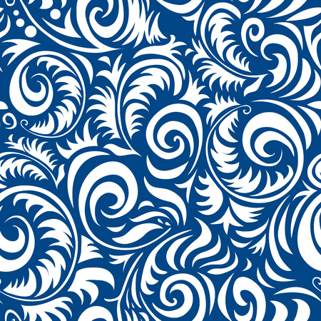 Traditional Russian vector seamless pattern in gzhel style. Can be used for banner, card, poster, invitation, label, menu, page decoration or web design art Illustration