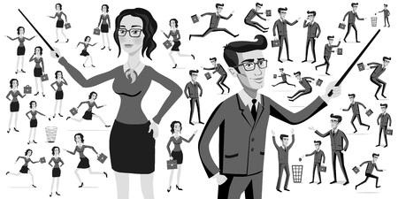 art work: Business people silhouettes women men art work Illustration